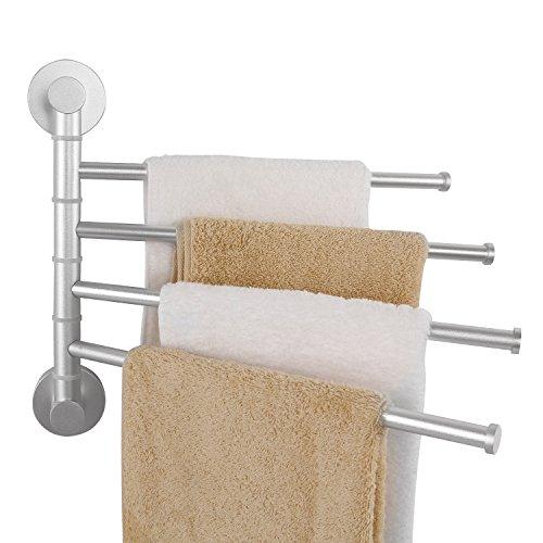 Lifewit Aviation-grade Aluminum Swing Out Towel Bar 13 inch 4-Bar Folding Arm Swivel Hanger Bathroom Storage Organizer Space Saving Wall Mount Towel Rack