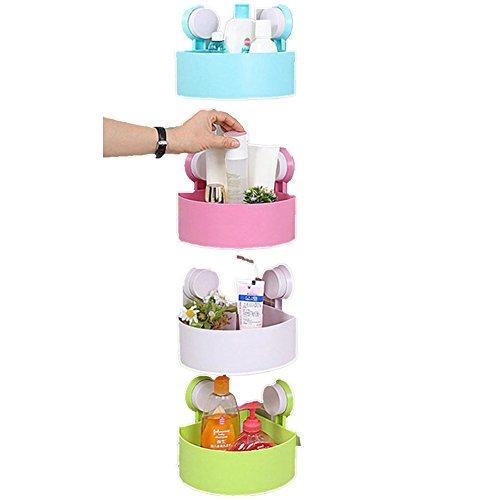 Plastic Suction Cup Bathroom Kitchen Corner Storage Rack Organizer Shower Shelf by Dumanfs White