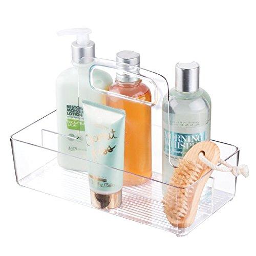mDesign Bathroom Storage Organizer Tote for Lotion Shampoo Conditioner - Small Clear