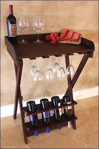 Mountain Woods Walnut Finish Folding Wine Table