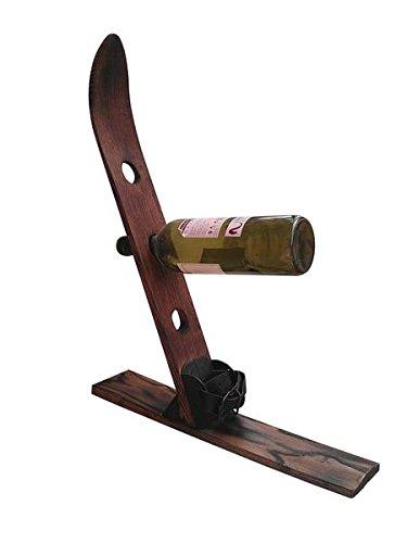 Vintage Winter Wooden Ski Wine Rack