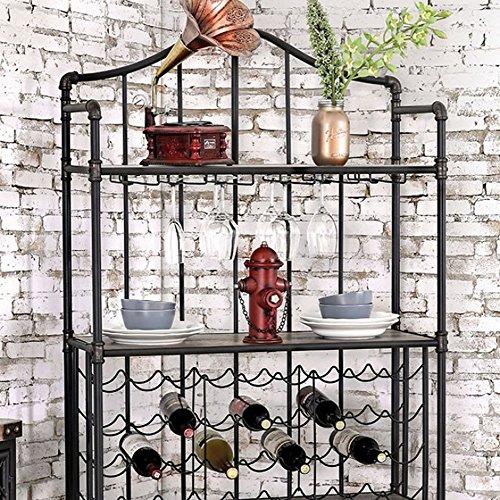 Furniture of America CM-AC6461 Brixton Ii Antique Black Metal Wine Rack Miscellaneous-Others