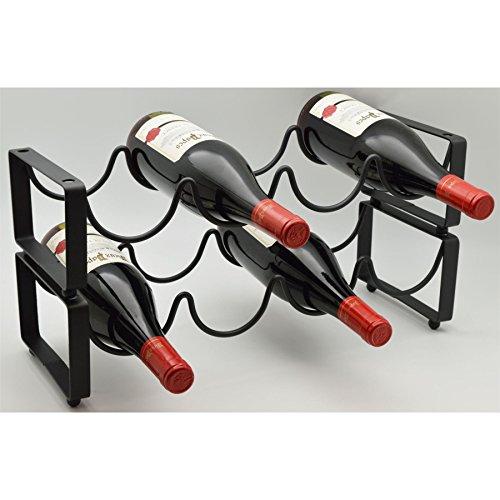 Harbour Housewares 8 Bottle Stackable Freestanding Black Metal Wine Rack