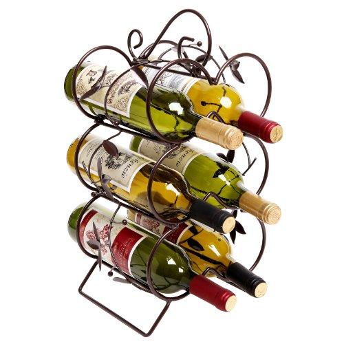 Decorative Wine Rack 6 Bottle Display Stand  Storage Organizer Chocolate Brown - MyGift