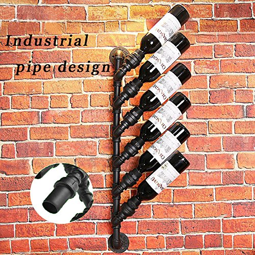 Rustic Industrial Steampunk Unidirection 6 Bottle Wine rack industrial wall decorate bottle holder