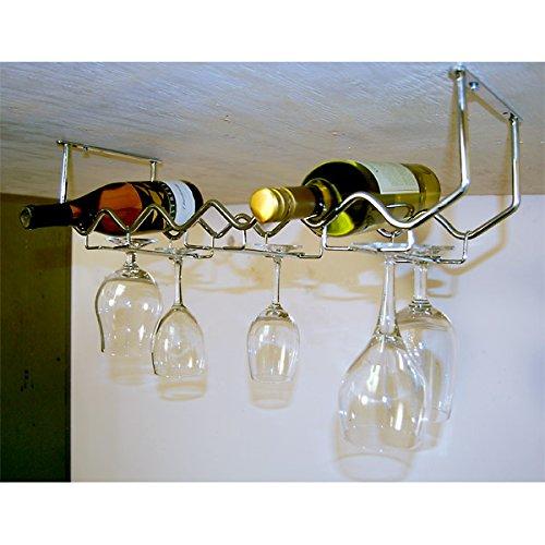 Spectrum Diversified Under Cabinet Wine Rack and Stemware Rack 6-Bottle6-Stems Chrome