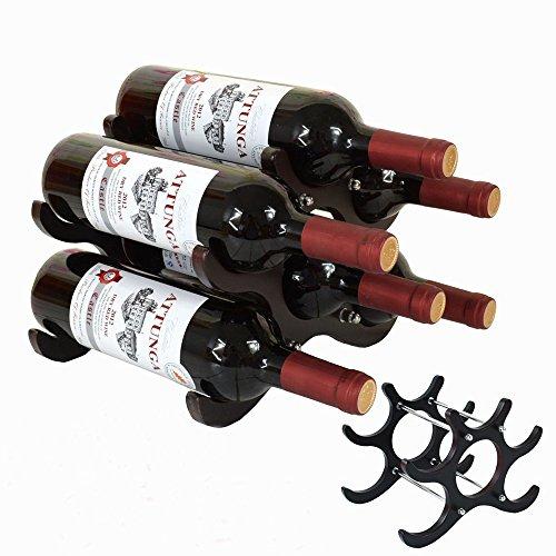 Wooden Wine Rack 6 Bottled Holder Wine Storage Space Save for Kitchen Bar Display Shelf
