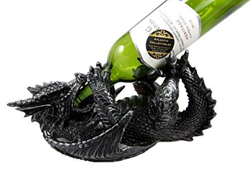 Atlantic Collectibles Black Saurian Armored Dragon Decorative Wine Holder Rack Figurine 12 Long