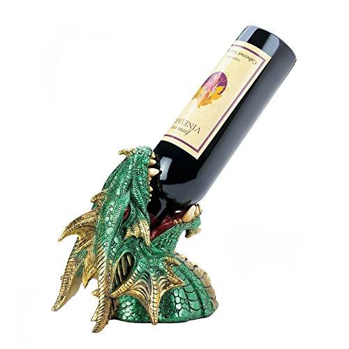 Dragon Wine Bottle Holder Decorative Wine Holder Green - Polyresin
