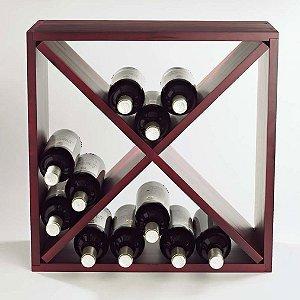 Wine Enthusiast 24 Bottle Compact Cellar Cube Wine Rack Mahogany
