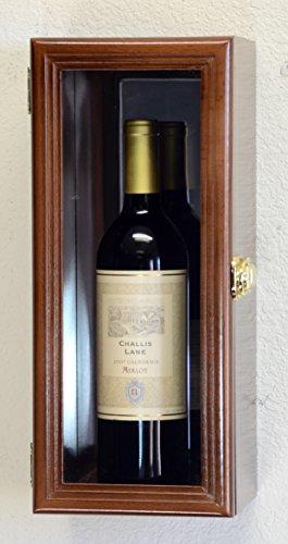 Single Wine Bottle Wall Display Case Cabinet Holder with Mirror Back Holds Bordeux Cabernet Burgundy Pinot Champagne Magnum Bottles Walnut Finish