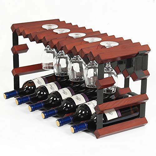 PLHMS Wine Rack Solid Wood Wine Rack Decoration Goblets Hanging Wine Rack Can Accommodate 6 Bottles 8 Wine Glasses Suitable for Kitchen Living Room