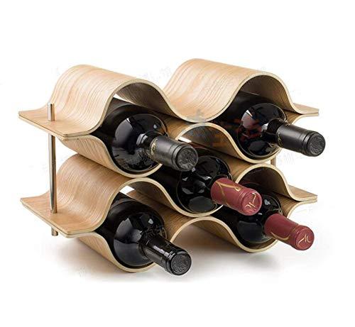 YOUZHI Wine Bottle Rack Home Restaurant Bar Tabletop Solid Wood Wine Rack Wave-Shaped Simple Red Wine Bottle Display Stand