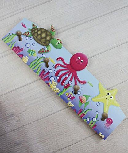 Girly Ocean Creatures Turtle Star Fish Wooden CLOTHES PEG Rack for Kids Bathroom Bedroom Baby Nursery CR0004