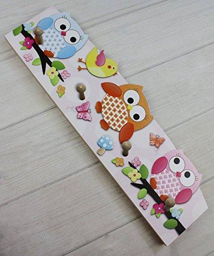 Pink Blue Orange Fun Owls Wooden CLOTHES PEG Rack for Girls Bedroom Baby Nursery CR0008