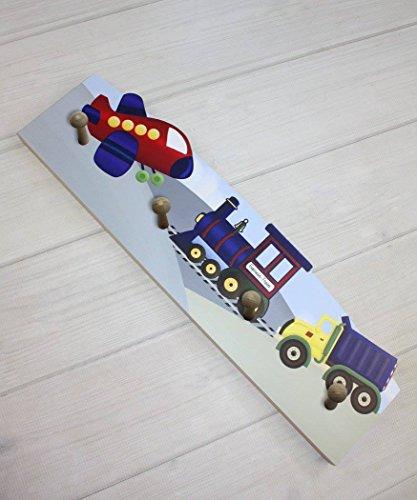 Transportation Airplane Train Dump Truck Wooden CLOTHES PEG Rack for Kids Bathroom Bedroom Baby Nursery CR0010