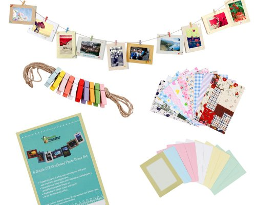 Bundle Monster Wall Deco DIY Paper Photo Frame with Mini Clothespins and Stickers - Fits 4x 6 Pictures 1 Multi-color