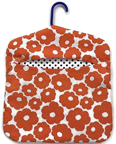 Vintage Style Laundry Clothespin Bag Artisan Made Orange Poppies