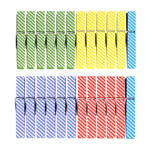 TtoyouU Colored Wood Clothespins Photo Paper Peg Pin Wooden Craft Clips,24pcs 29Stripe