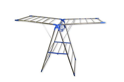 NEW Simplelife BLUE Clothes Drying Rack - Foldable Metal Rod Gullwing Laundry Dryer Hanging Storage - Fast Easy Dry Clothing in both IndoorOutdoor Places - Fit in the Balcony or Inside Your Room