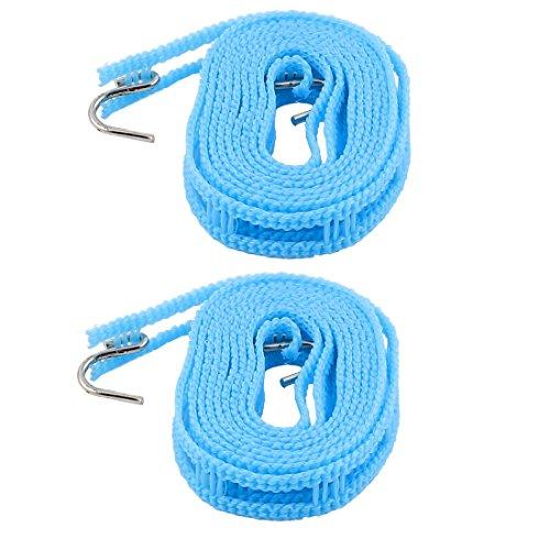uxcell Plastic Clothesline Clothes Towels Hanger Rope w 2 Hooks 2M 2pcs Blue