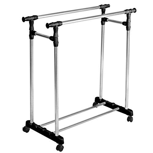Super buy HEAVY DUTY Double Adjustable Portable Clothes Rack Hanger Extendable Rolling