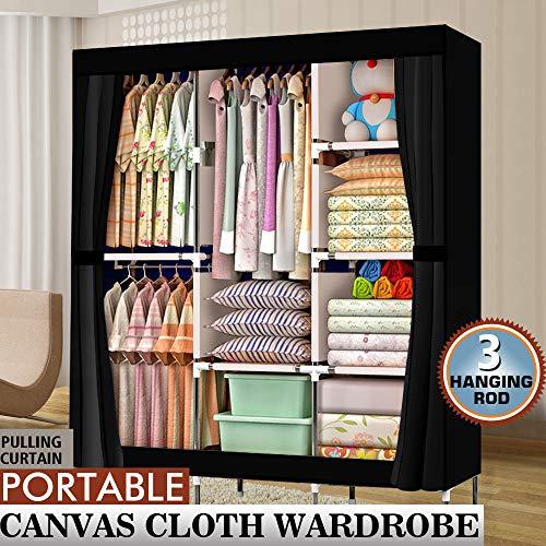 71 Portable Closet Wardrobe Clothes Rack Storage Organizer with Shelf Black