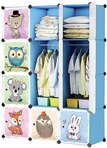 KOUSI Kids Dresser Kids Closet Portable Closet Wardrobe Children Bedroom Armoire Clothes Hanging Storage Rack Cube OrganizerCute CartoonSafety Large Sturdy Blue 42W x 14D x 56H