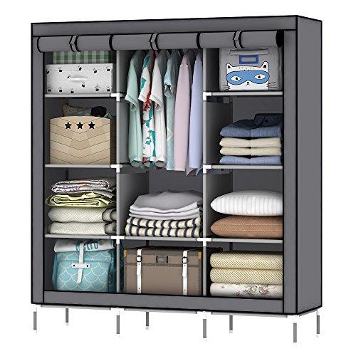 OUMYJIA 69 inches Non-Woven Fabric Portable Clothes Closet Wardrobe Storage Organizer 51L x 175W x 69H inches Grey