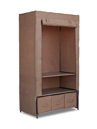 Topline Portable Freestanding Covered Closet Garment Wardrobe Organizer with Hanging Rack and Shelves - Mocha