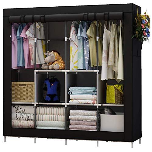 UDEAR Portable Closet Large Wardrobe Closet Clothes Organizer with 6 Storage Shelves 4 Hanging Sections 4 Side PocketsBlack