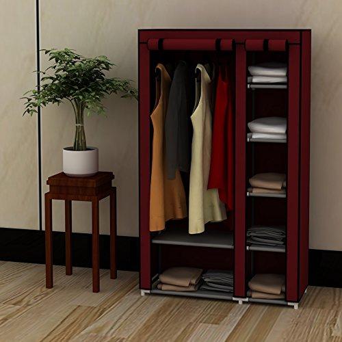39 Portable Home Wardrobe Storage Closet Organizer Rack with Shelves Claret