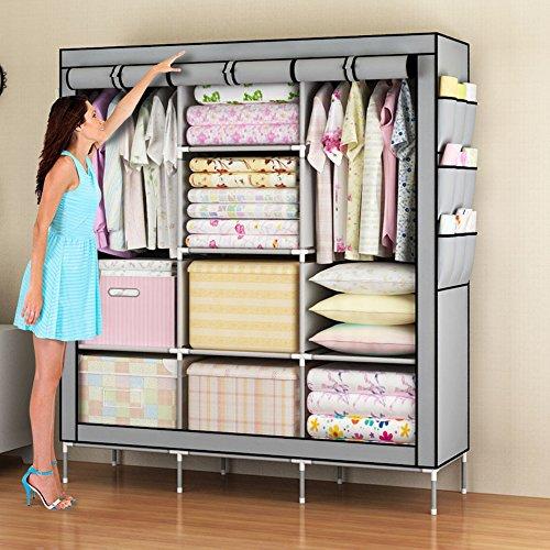 Amanda Home Portable Clothes Closet Non-woven Fabric Wardrobe Storage Organizer Color Grey - 51 length x 18 width x 69