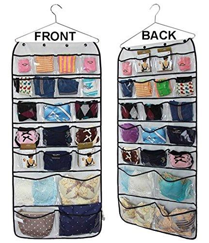 Durable Dual-sided Closet Storage Space Save Bag42 Pockets Hanging Closet wardrobe Storage Bra Underwear Socks Ties Organiser