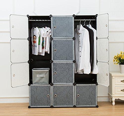 UNICOO - Multi Use DIY Plastic 12 Cube Organizer Bookcase Storage Cabinet Wardrobe Closet Black with White Door Deeper Cube