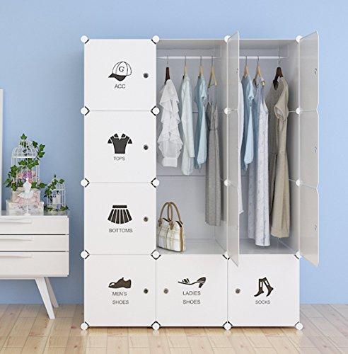 Unicoo - Multi Use DIY Plastic 12 Cube Organizer Toy Organizer Bookcase Storage Cabinet Wardrobe Closet White With Door Sticker Deeper Cube - White