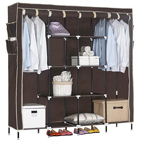 WOLTU Portable Clothes Closet Wardrobe Storage Cloth Organizer Fabric Steel Shoe Rack 10 Shelves with 12 Side Pockets Coffee