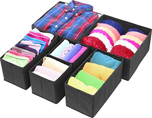Simple Houseware Foldable Cloth Storage Box Closet Dresser Drawer Divider Organizer Basket Bins for Underwear Bras Black Set of 6