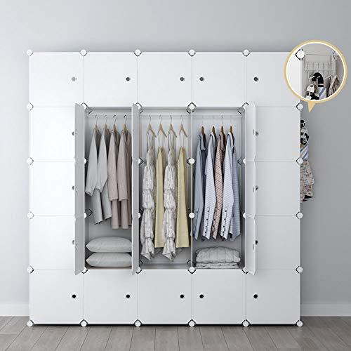 YOZO Modular Wardrobe Portable Clothes Closet Dresser Garment Rack Polyresin Storage Organizer Bedroom Armoire Cubby Shelving Unit Dresser Multifunction Cabinet DIY Furniture White 25 Cubes