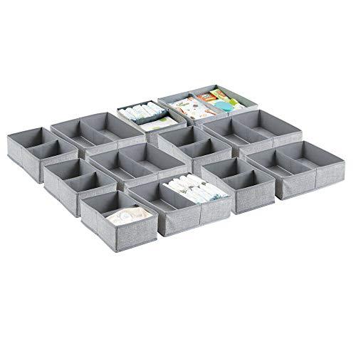 mDesign Soft Fabric Dresser Drawer and Closet Storage Organizer Set for ChildKids Room Nursery Playroom Bedroom - Rectangular Organizer Bins with Textured Print - Set of 12 - Gray