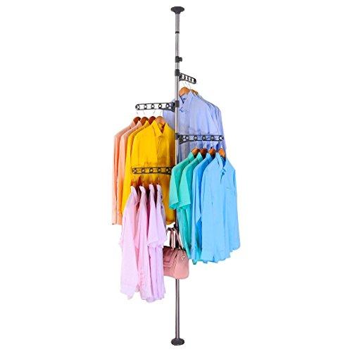 BAOYOUNI 4-Tier Standing Clothes Laundry Drying Rack Coat Hanger Organizer Floor to Ceiling Adjustable Metal Corner Tension Pole Grey