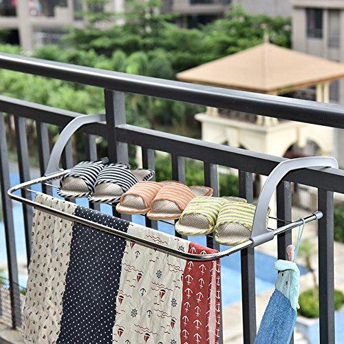 Yeeper Drying Rack IndoorOutdoor Easy Install Folding Clothes Drying Rack-Hanging over the door or on Guardrail Corridor Balcony Bathroom Windowsill