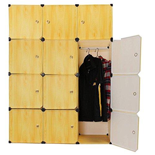 KINGSO Resin Wood Grain 12 Cubes DIY Wardrobe Closet Storage Organizer Clothes Cabinet Box Yellow