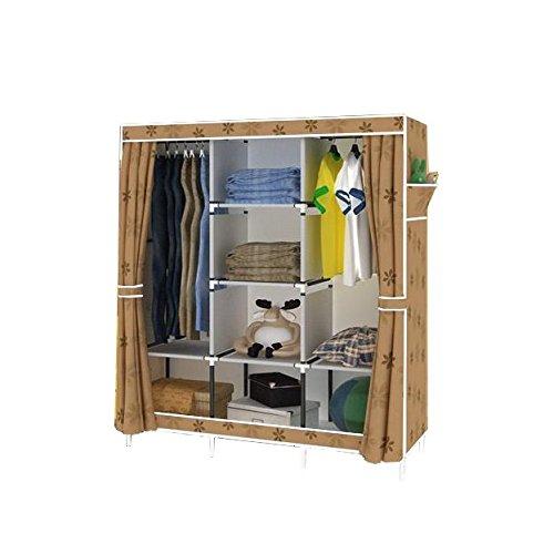 Magshion Portable Closet Rack Shelf Storage Clothes Organizer Cabinet Free Standing Khaki-Flower