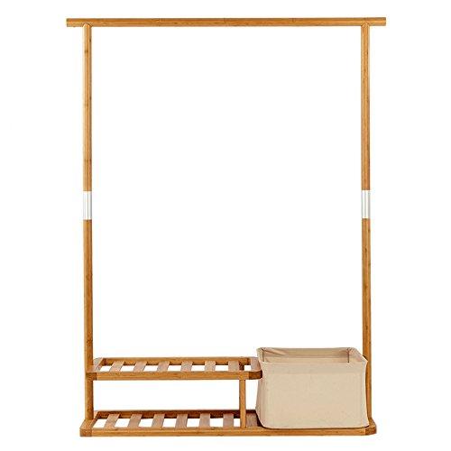 Heavy Duty Garmen Rack Assemble Hanging Clothes Rack Multi-Purpose Coat Shoe Hall Tree With Portable Laundry Basket