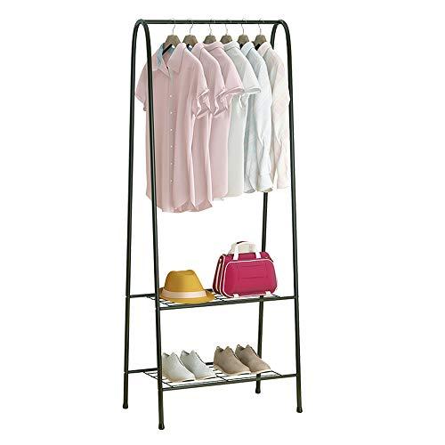 KAREZONINE Freestanding Closet Double Rod Heavy Duty Garment Rack 2-Tier Metal Hanging Clothes Rack Portable Closet with Bottom Shelves for Shoes Storage - Black