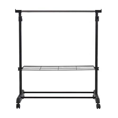 Safstar Adjustable Single Rod Garment Rack Rolling Hanging Rail Clothes Hanger Stand with Shoe Shelf
