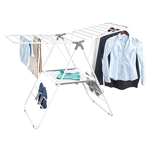 InterDesign Brezio Folding Laundry Drying Rack with Mesh Shelf - WhiteGray