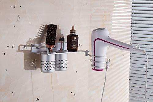 Evoio Hair Dryer Holder Aluminum Wall Mounted Bathroom Organizer Racks Hair Dryer Shelf Bathroom Washroom Accessories Storage Organizer for Brush Tray with 2 Cups