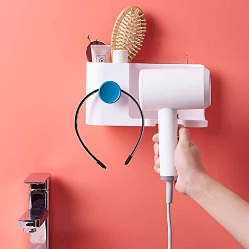 Hair Dryer Holder - No Punching Wall Mounted Hair Dryer Shelf Bathroom Toothbrush Rack Drier Storage Comb Shift Household Storage Racks Organizer White